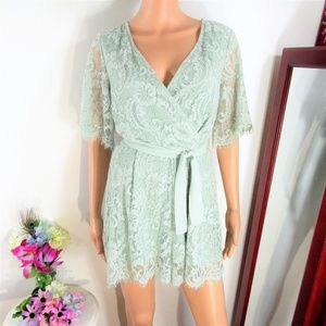 HP ! NEW! Altar'd State Sage Lace Shorts Romper